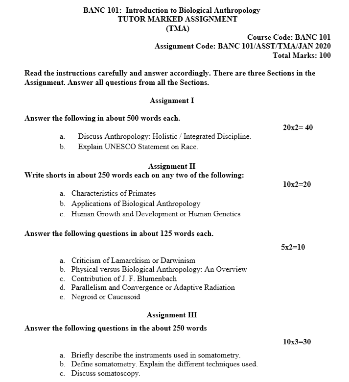 IGNOU BANC-101 Assignment January 2020