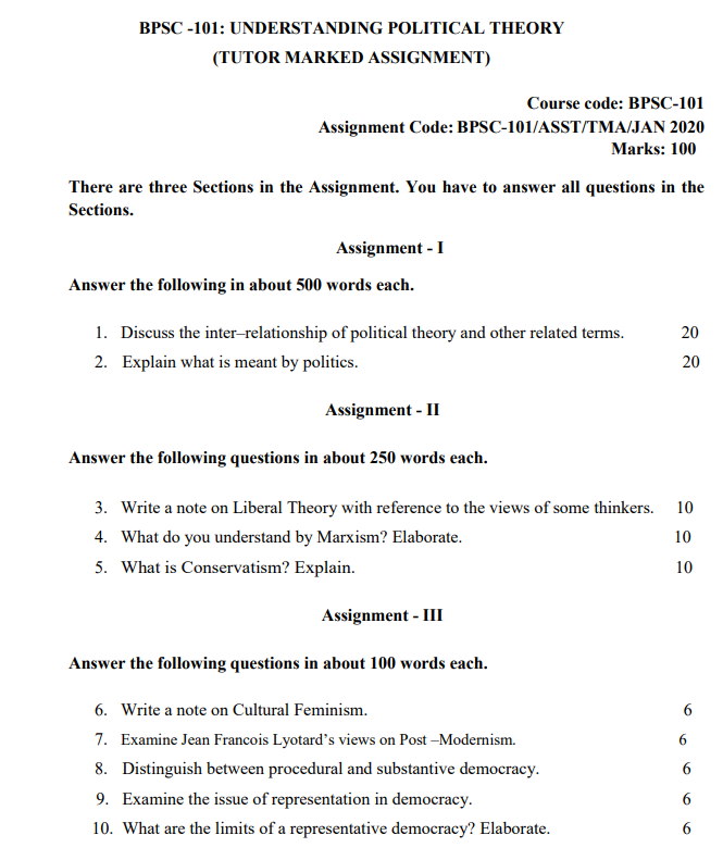 IGNOU BPSC-101 Assignment January/ July 2020