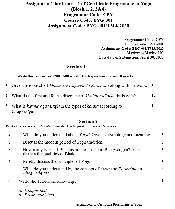 IGNOU BYG-01 Assignment January 2020