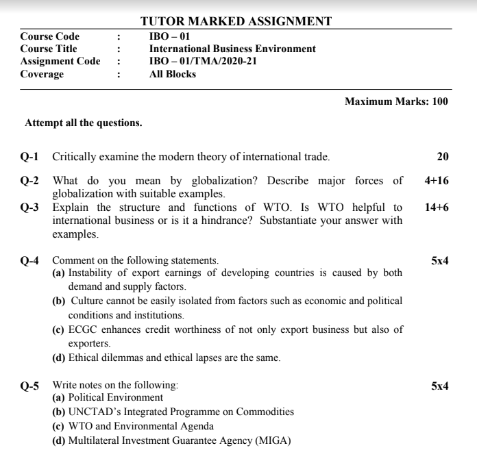 IGNOU IBO-01 Assignment 2020