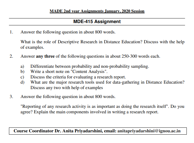 IGNOU MDE-415 Assignments January 2020