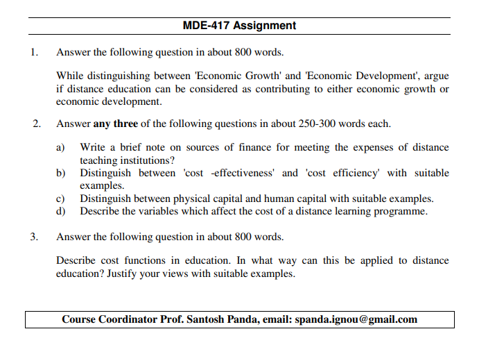 IGNOU MDE-417 Assignments January 2020