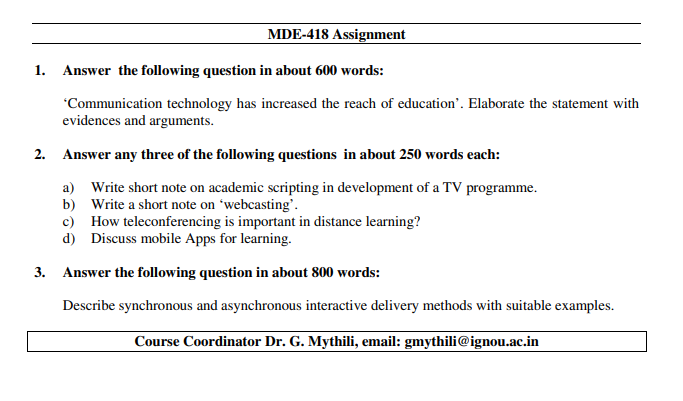IGNOU MDE-418 Assignments Jan 2020