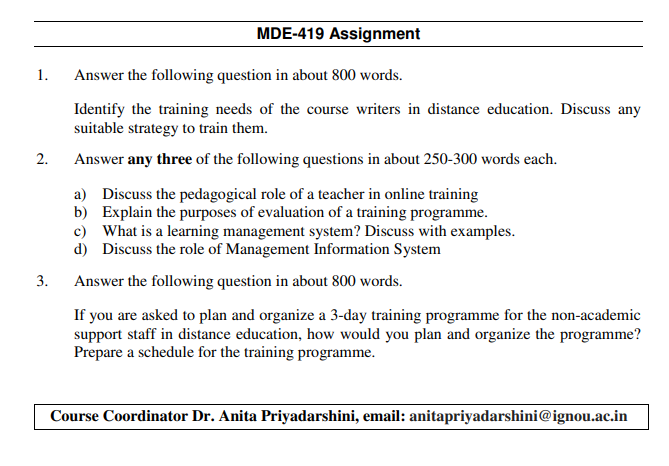 IGNOU MDE-419 Assignments Jan 2020