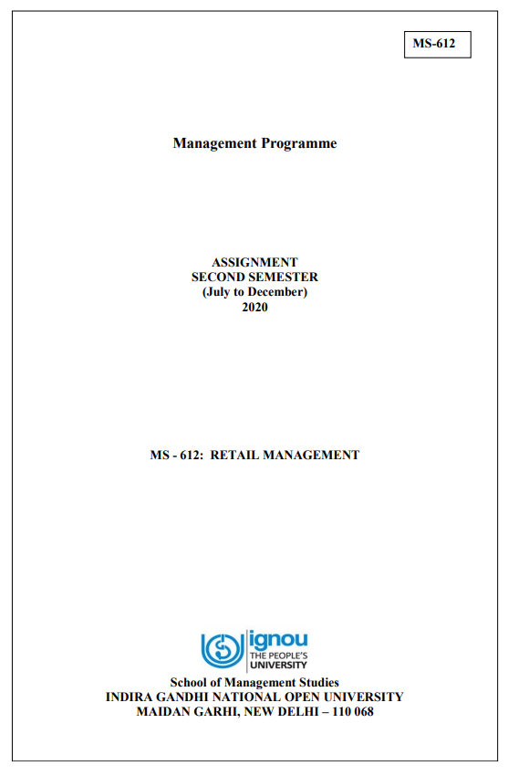 IGNOU MS-612 Assignment 2020