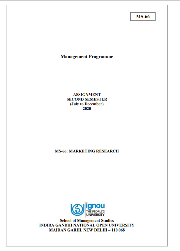 IGNOU MS-66 Assignment 2020